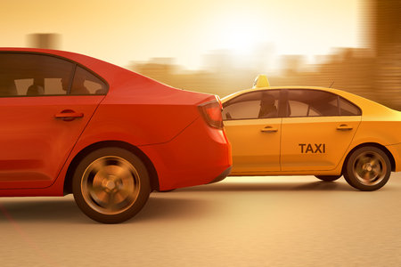 3D rendering of a conceptual image of a race between a regular taxi and an app based service Stock Photo