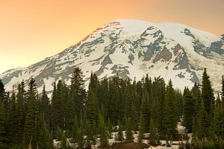 Mount Rainier summit and Paradise area at Mount Rainier National Park, Washington State, USA