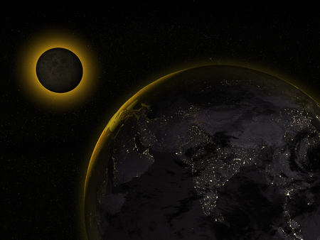 3D rendering of a full moon eclipse and planet earth from space.
