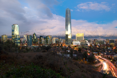 Skyline of  Financial district in Providencia with Los Andes Mountains in the back, Santiago de Chile