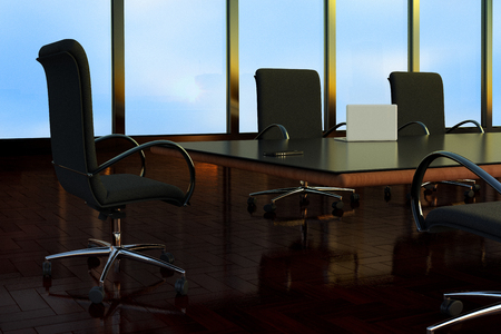 3D rendering of an empty Boardroom in a office building. Stock Photo