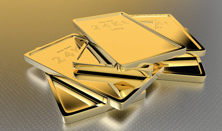 3D rendering of 24kt gold ingots.