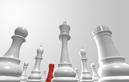 3D rendering of chess pieces surrounding one from the opposite team Stock Photo
