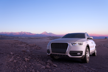 3D rendering of a SUV in the Atacama Desert in Chile Stock fotó