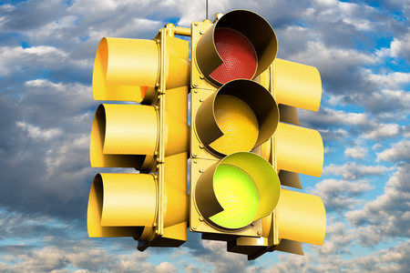 3D rendering of a traffic light on green
