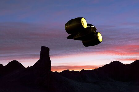 3D rendering of a cargo Ship flying over a rocky planet