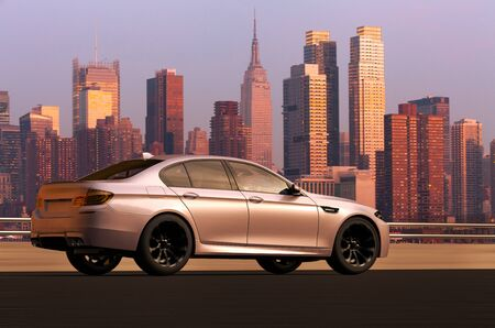 3D rendering of a sedan car infront of Manhattan skyline, USA Banco de Imagens