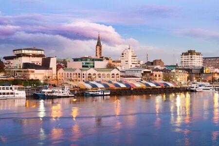 The city of Valdivia at the shore of Calle-Calle river, Region de Los Rios, Chile