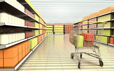 3D rendering of a shopping cart inside a supermarket.