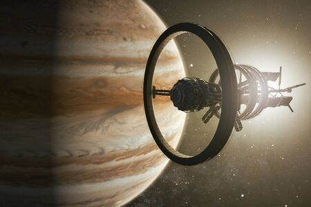 3D rendering of a spaceship aproaching Jupiter