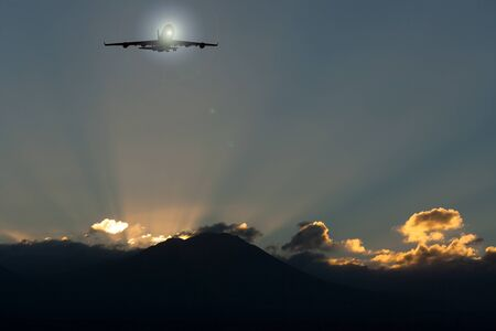 3D rendering of a plane flying over the sunrise