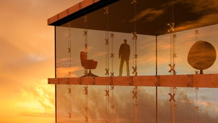 3D rendering of a modern glass building with a man looking the sunset. Reklamní fotografie