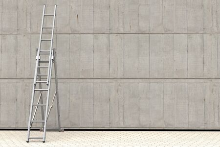 3D rendering of a portable ladder against a concrete wall