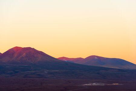 ALMA, atacama large millimeter array, base Camp seen from the distance in the altiplano, Atacama Desert, Chile Фото со стока