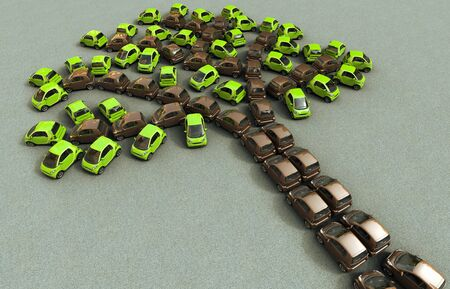 3D rendering of eco city cars parked forming the shape of a tree