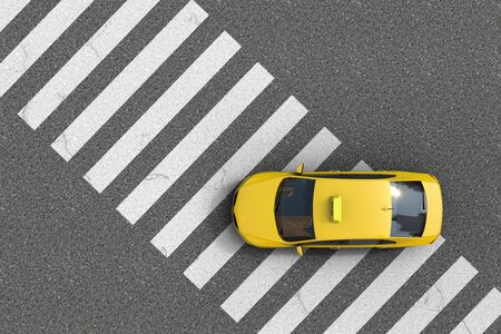 3D rednering of an overhead view of a yellow taxi over a pedestrian crossing