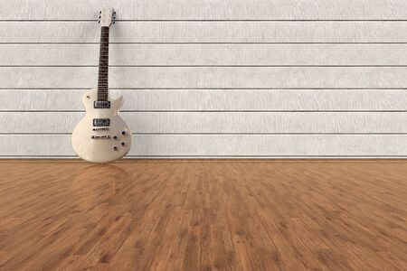 3D rendering of an electric Guitar in an empty room Фото со стока - 129163576
