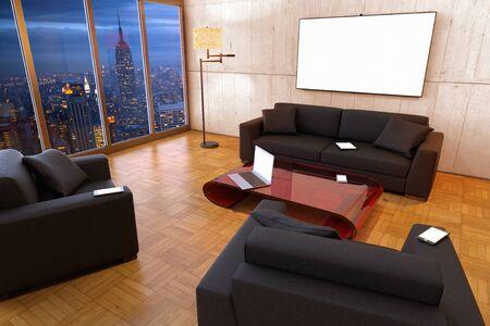 3D rendering of multiple screens in a living room