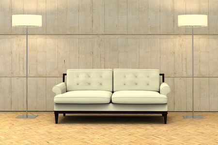 3D rendering of an empty wall on a modern apartment with a sofa