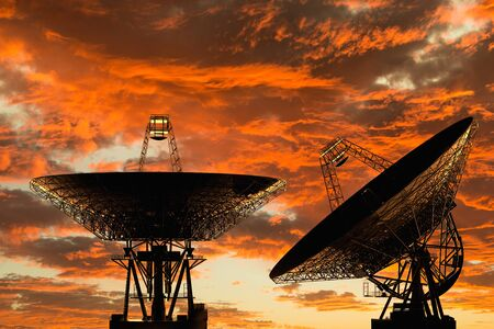 3D rendering of radio telescopes at sunset Фото со стока