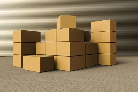 3D rendering of a stack of cardboard boxes outside a warehouse