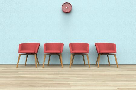 3D rendering of chairs and clock in a waiting room