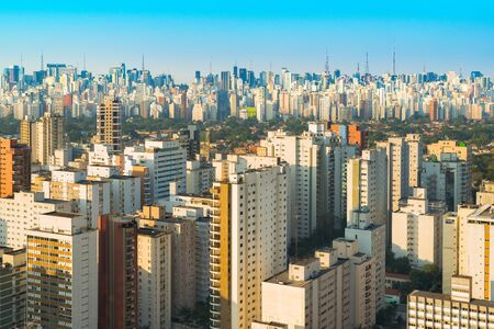 Skyline of Sao Paulo at dusk, Brazil, South America