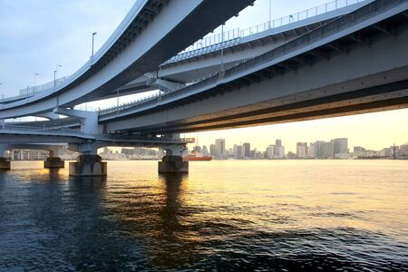 Access ramp to Rainbow Bridge, Odaiba, Tokyo, Kanto Region, Honshu, Japan