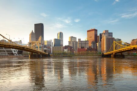 Skyline of downtown with Rachel Carson Bridge and Andy Warhol Bridge over the Allegheny River, Pittsburgh, Pennsylvania, USA