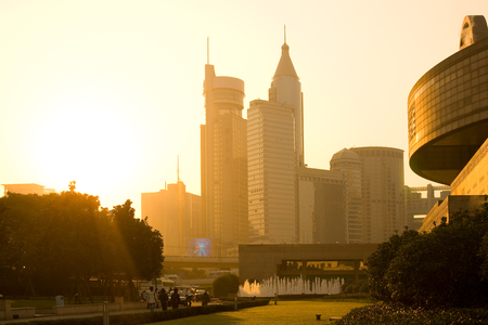 Shanghai, huangpu district, China - November 11, 2008: Skyline of office buildings from Renmin Park (Peoples Square). Редакционное
