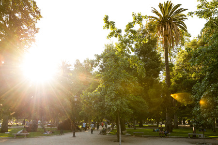 Santiago, Region Metropolitana, Chile - December 11, 2018: People walking and relaxing in the Forestal Park, the more traditional urban park in the city. Редакционное