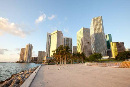 Bayfront Park and downtown skyline, Miami, Florida, USA Фото со стока