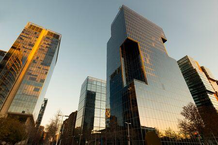Office buildings at financial district known as Nueva Las Condes in Rosario Norte Street, Las Condes, Santiago de Chile Фото со стока