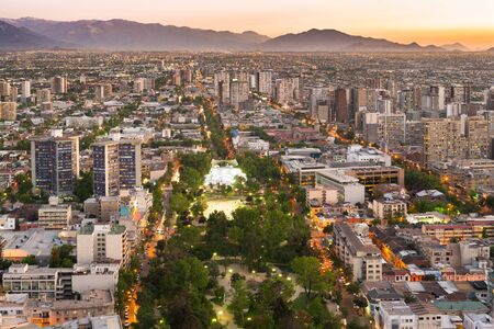 View of Parque Bustamante, Providencia district and the south side of the city, Santiago de Chile Фото со стока