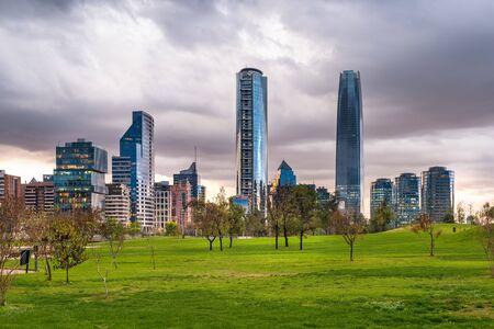 Skyline of financial district from Parque Bicenternario (Bicentennial Park) at Vitacura district, Santiago de Chile