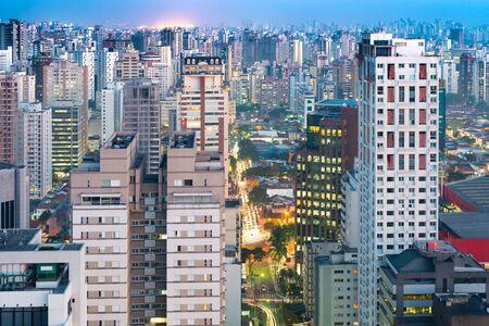 Cityscape of Sao Paulo at dusk, Brazil, South America
