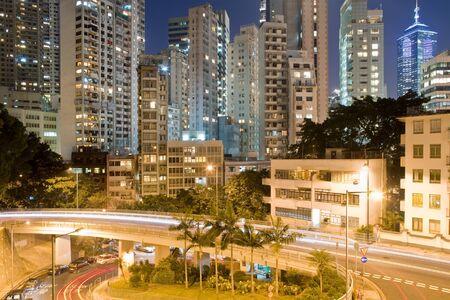 Upper Albert Road and skyline of residential apartment buildings at Chung Wan (Central district), Hong Kong Island, Hong Kong, China, Asia
