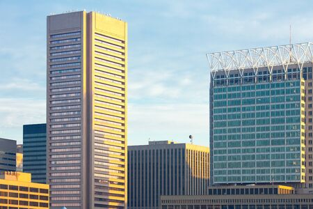 Close up  of buildings at downtown, Inner Harbor waterfront, Baltimore, Maryland, USA Фото со стока
