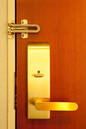 Hotel room doorknob with lock