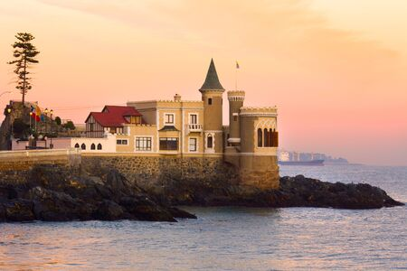Wulff Castle, a popular and iconic landmark of Vina del Mar, holding a museum and city hall offices, Valparaiso Region, Chile