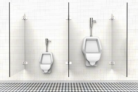 3D rendering of a public bathroom with urinals for child and adult