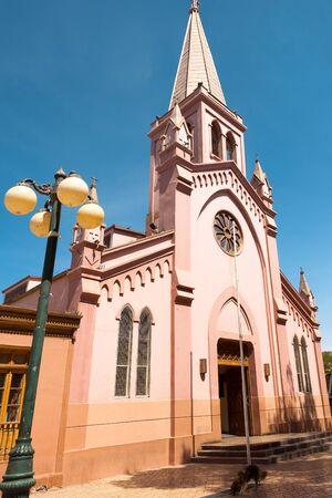 Church at PLaza de Armas, the main square of Calama, a mining town in the Atacama Desert, Calama, Chile Фото со стока