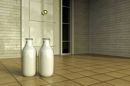 3D rendering of milk bottles in front of the door of a house at the early morning