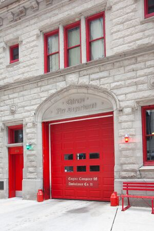 Chicago, Illinois, United States - May 03, 2011: Detail of the door of the building of Chicago Fire Department.