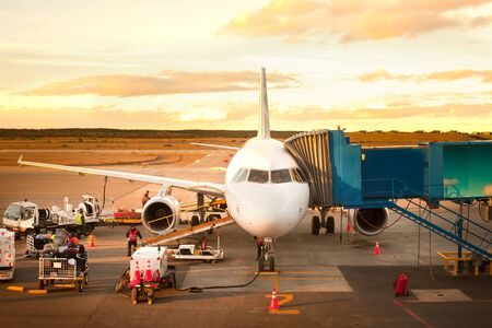 Punta Arenas, Region de Magallanes, Chile - Airplane being prepared before take off. Фото со стока