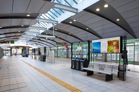 Tokyo, Shimbashi district, Japan - April 17, 2010: Shimbashi station, platform for Yurikamome monorail line.