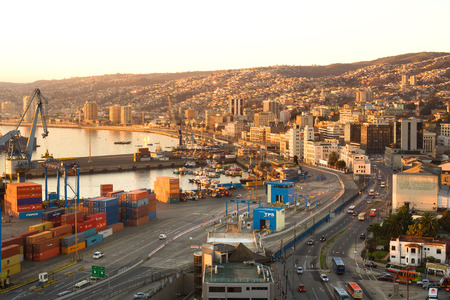 Valparaiso, Chile - July 23, 2009: Port facilities, city waterfront and hills of the city