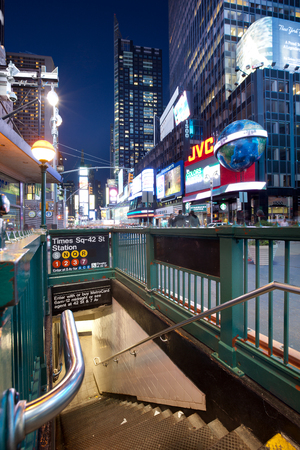 New York City, NY, United States - May 09, 2011: Access to Time Square 42 street subway station.