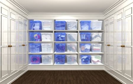 3D rendering of an organized Closet Фото со стока - 134687437