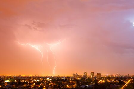Electric storm over Santiago de Chile, a very unusual phenomenon in this city.